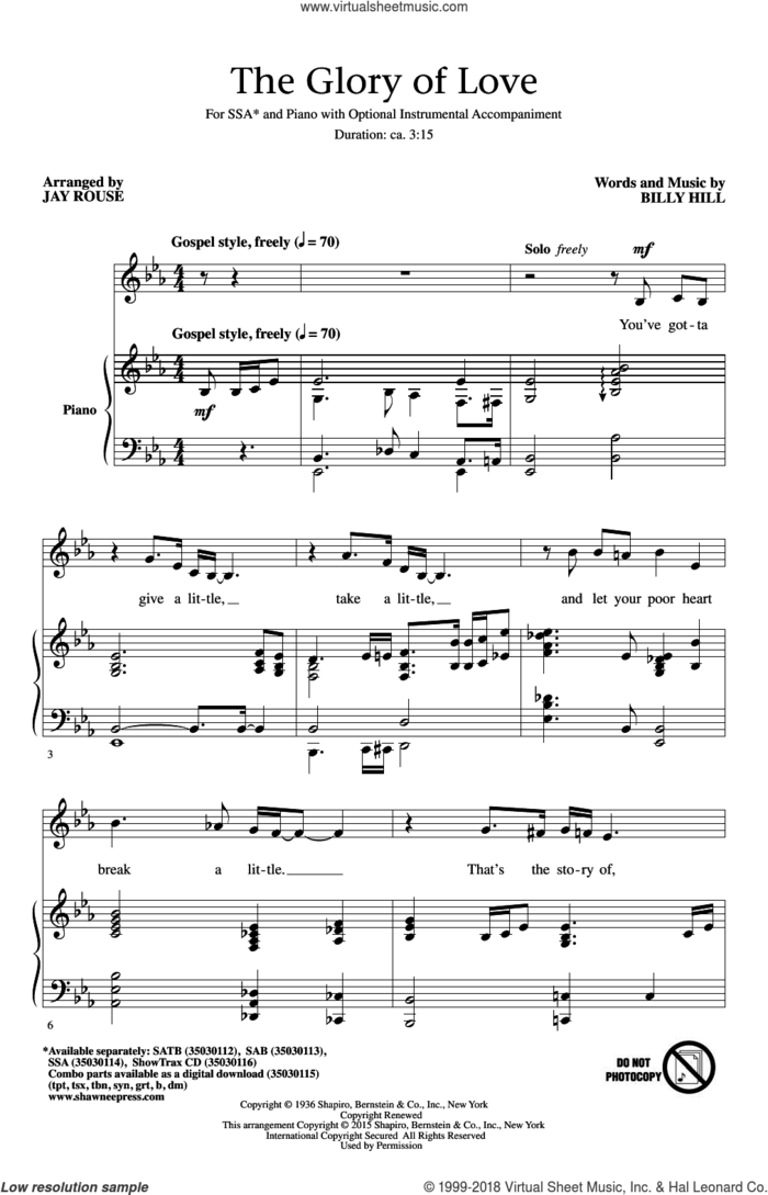 The Glory Of Love sheet music for choir (SSA: soprano, alto) by Billy Hill, Jay Rouse, Count Basie, Jimmy Durante, Peggy Lee and The Platters, intermediate skill level