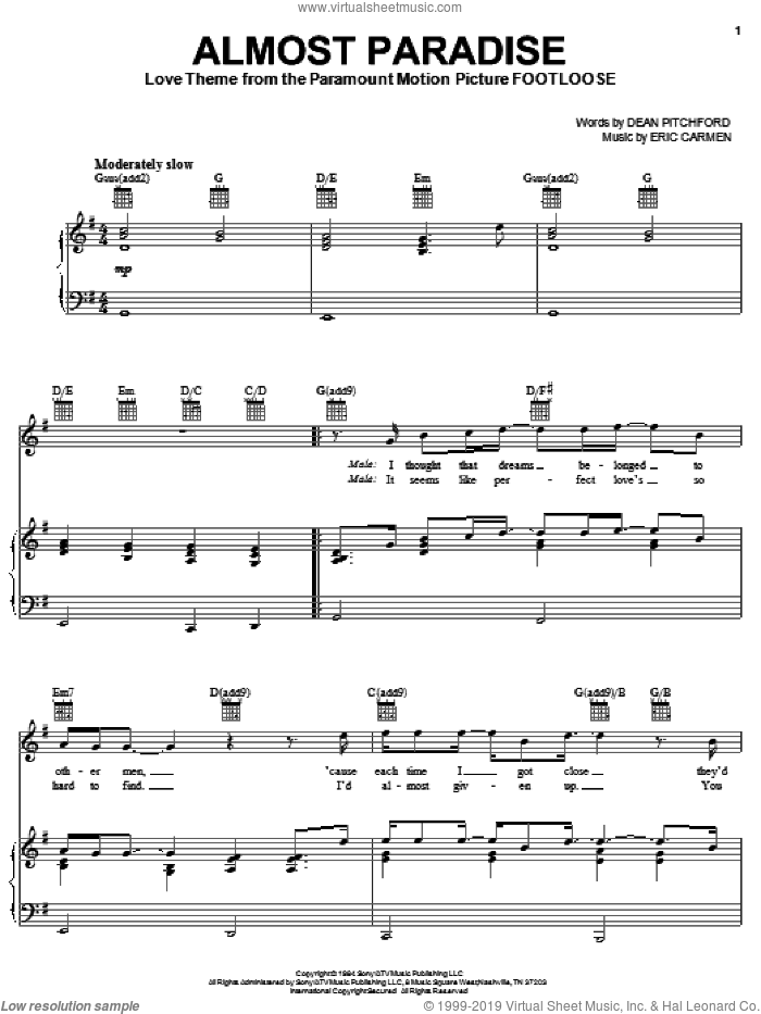 Almost Paradise sheet music for voice, piano or guitar by Ann Wilson & Mike Reno, Ann Wilson, Footloose (Movie), Footloose (Musical), Mike Reno, Dean Pitchford and Eric Carmen, wedding score, intermediate skill level