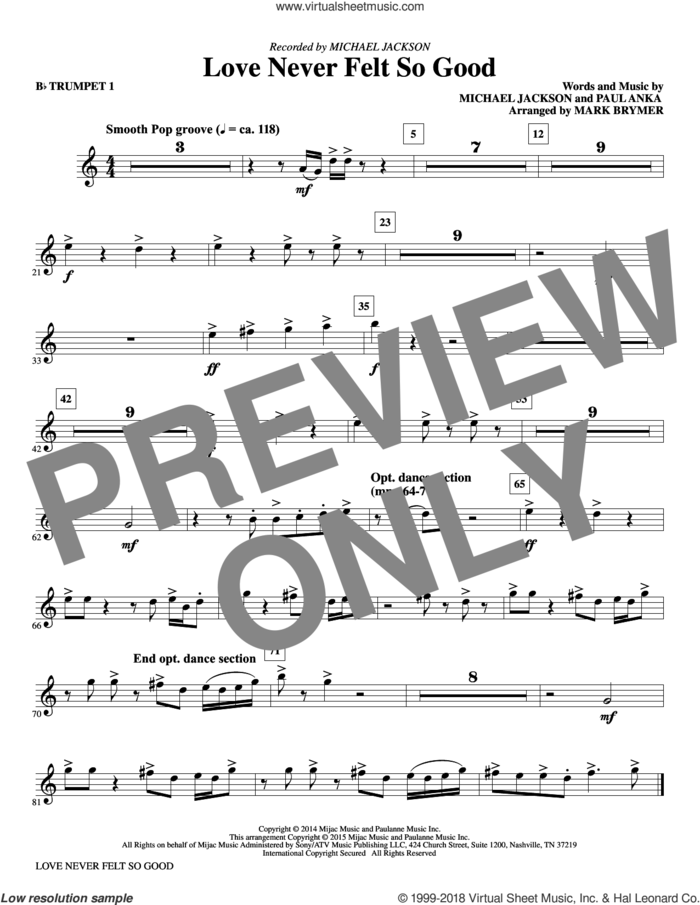 Love Never Felt So Good (complete set of parts) sheet music for orchestra/band by Mark Brymer, Michael Jackson, Michael Jackson & Justin Timberlake and Paul Anka, intermediate skill level