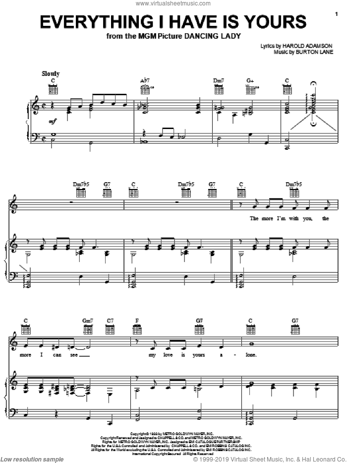 Everything I Have Is Yours sheet music for voice, piano or guitar by Sarah Vaughan, Billie Holiday, Burton Lane and Harold Adamson, wedding score, intermediate skill level