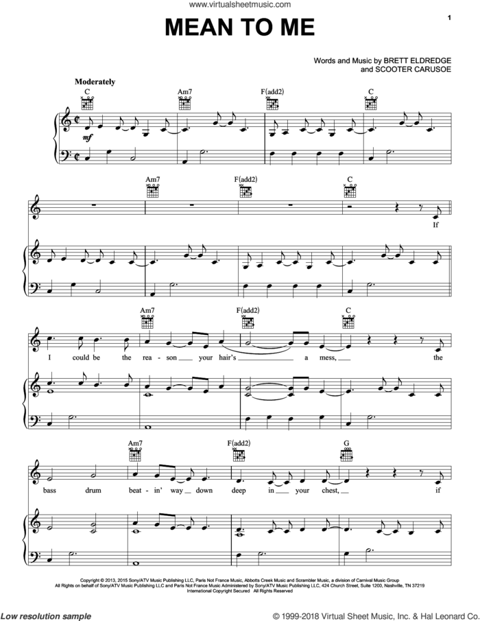 Mean To Me sheet music for voice, piano or guitar by Brett Eldredge and Scooter Carusoe, intermediate skill level