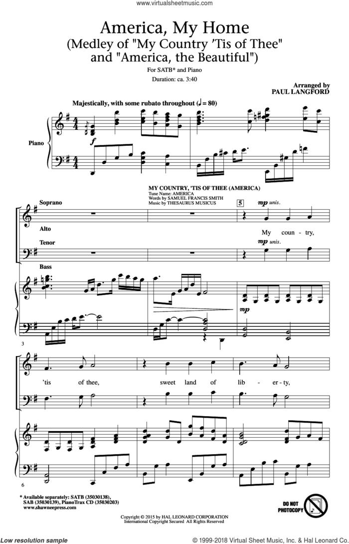 America, My Home sheet music for choir (SATB: soprano, alto, tenor, bass) by Samuel Francis Smith, Paul Langford and Thesaurus Musicus, intermediate skill level