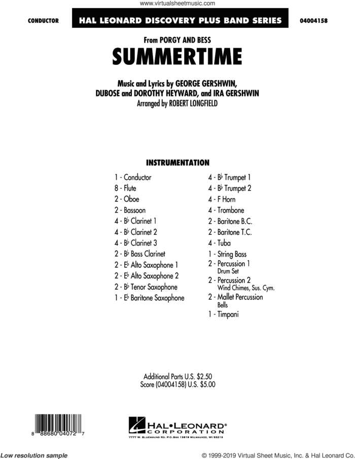 Summertime (from Porgy and Bess) (COMPLETE) sheet music for concert band by George Gershwin, Dorothy Heyward, DuBose Heyward, Ira Gershwin and Robert Longfield, intermediate skill level