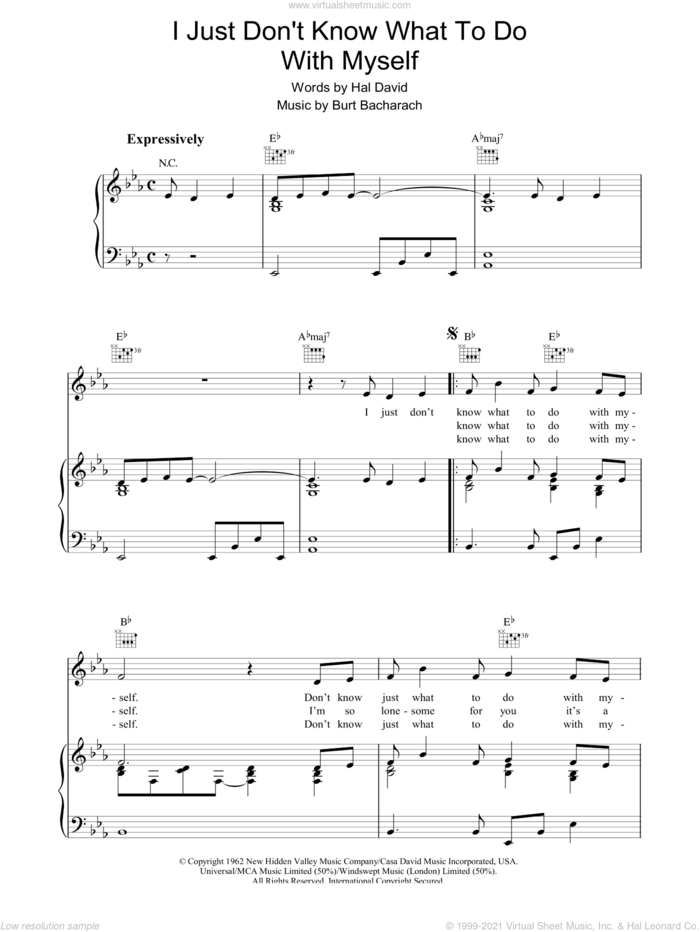 I Just Don't Know What To Do With Myself sheet music for voice, piano or guitar by Dusty Springfield, Bacharach & David, Burt Bacharach and Hal David, intermediate skill level
