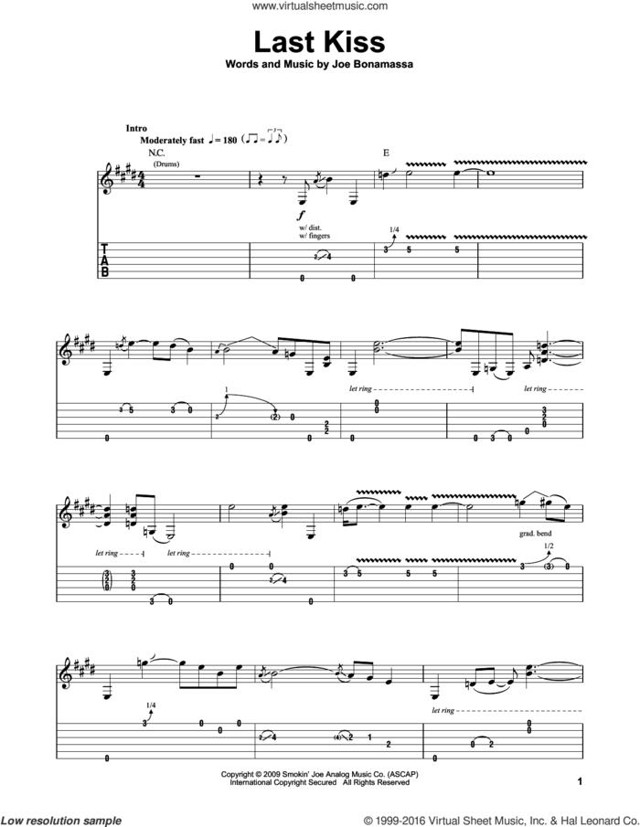 Last Kiss sheet music for guitar (tablature, play-along) by Joe Bonamassa, intermediate skill level