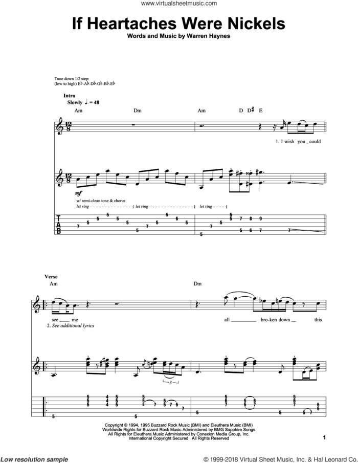 If Heartaches Were Nickels sheet music for guitar (tablature, play-along) by Joe Bonamassa and Warren Haynes, intermediate skill level