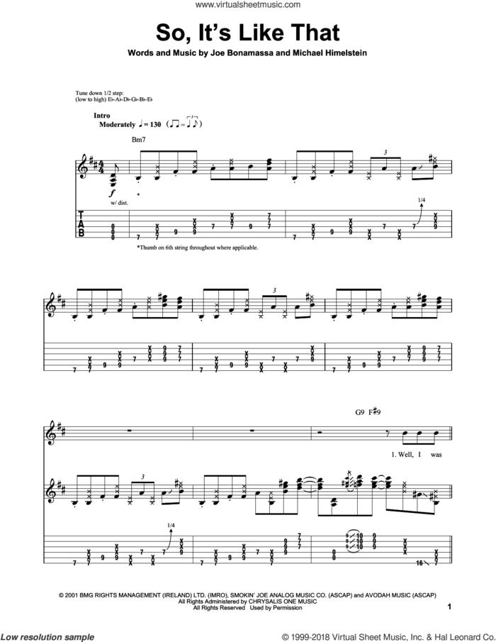 So, It's Like That sheet music for guitar (tablature, play-along) by Joe Bonamassa and Michael Himelstein, intermediate skill level