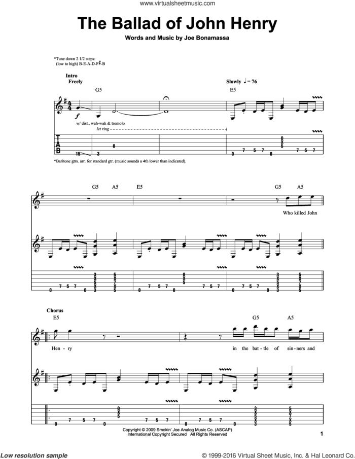 The Ballad Of John Henry sheet music for guitar (tablature, play-along) by Joe Bonamassa, intermediate skill level