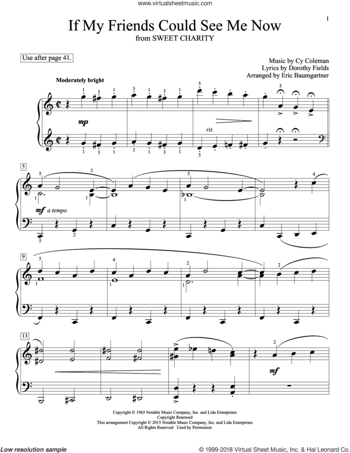 If My Friends Could See Me Now sheet music for piano solo (elementary) by Dorothy Fields, John Thompson, Eric Baumgartner, Glenda Austin and Cy Coleman, beginner piano (elementary)