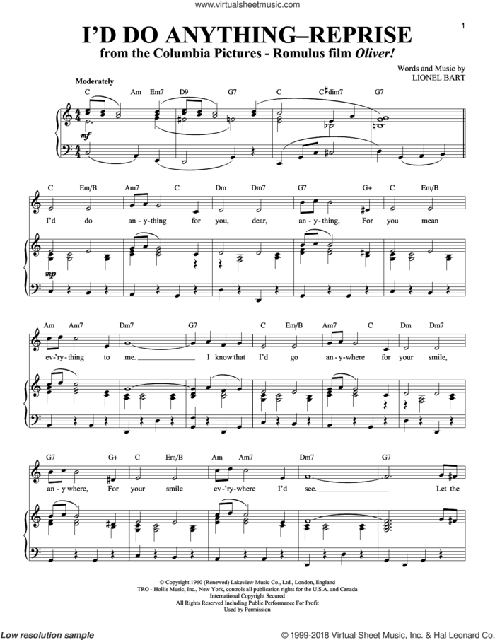 I'd Do Anything - Reprise sheet music for voice and piano by Lionel Bart, intermediate skill level
