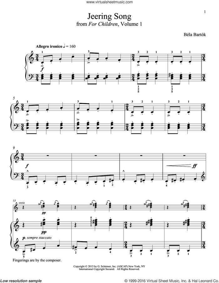 Jeering Song sheet music for piano solo by Bela Bartok, Richard Walters and Bela Bartok, classical score, intermediate skill level