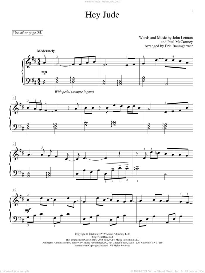 Hey Jude sheet music for piano solo (elementary) by Paul McCartney, Eric Baumgartner, Glenda Austin, John Thompson, The Beatles and John Lennon, beginner piano (elementary)