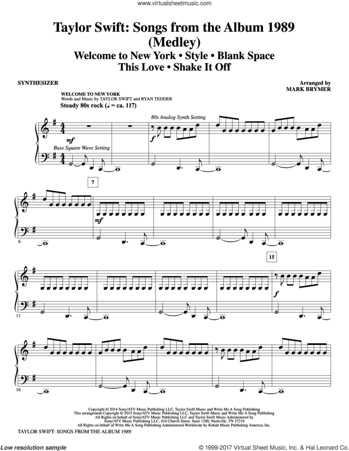 Taylor Swift: Songs from the Album 1989 (complete set of parts) sheet music for orchestra/band by Mark Brymer, Johan Schuster, Max Martin, Shellback and Taylor Swift, intermediate skill level
