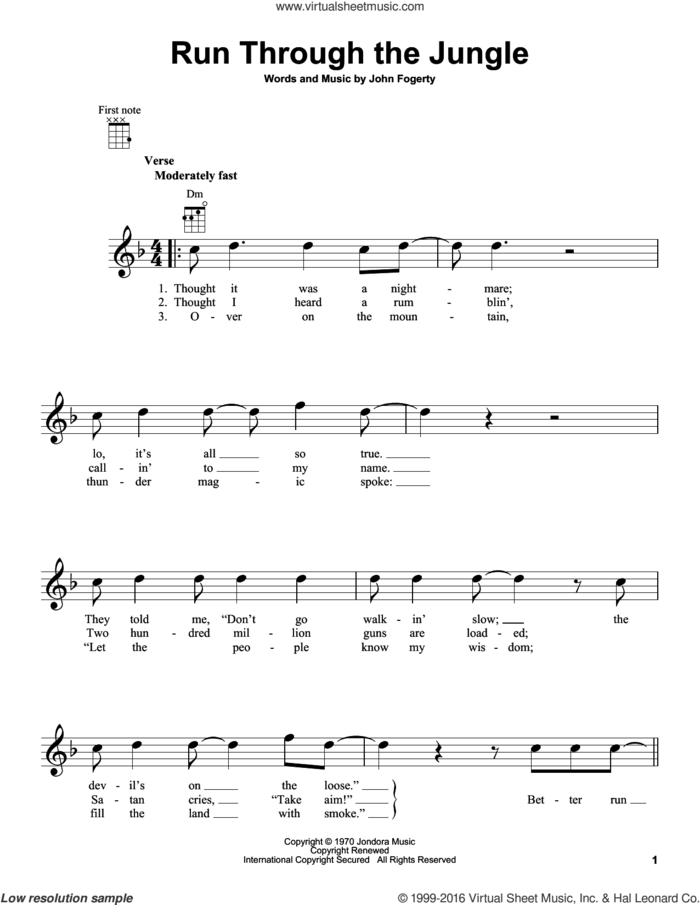 Run Through The Jungle sheet music for ukulele by Creedence Clearwater Revival and John Fogerty, intermediate skill level