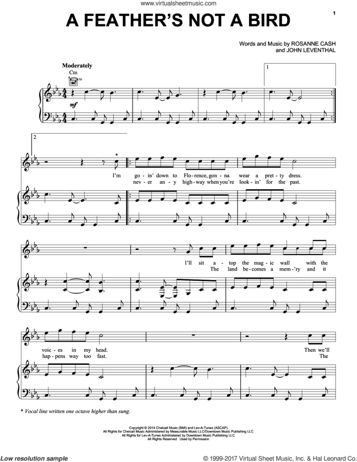 A Feather's Not A Bird sheet music for voice, piano or guitar by Rosanne Cash and John Leventhal, intermediate skill level