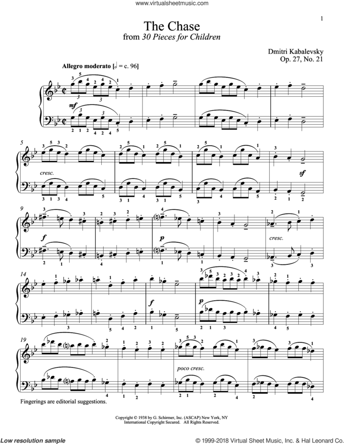 The Chase sheet music for piano solo by Dmitri Kabalevsky, Richard Walters, Jeffrey Biegel and Margaret Otwell, classical score, intermediate skill level