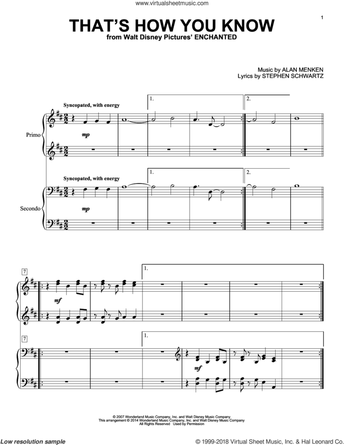 That's How You Know (from Enchanted) sheet music for piano four hands by Alan Menken and Stephen Schwartz, intermediate skill level