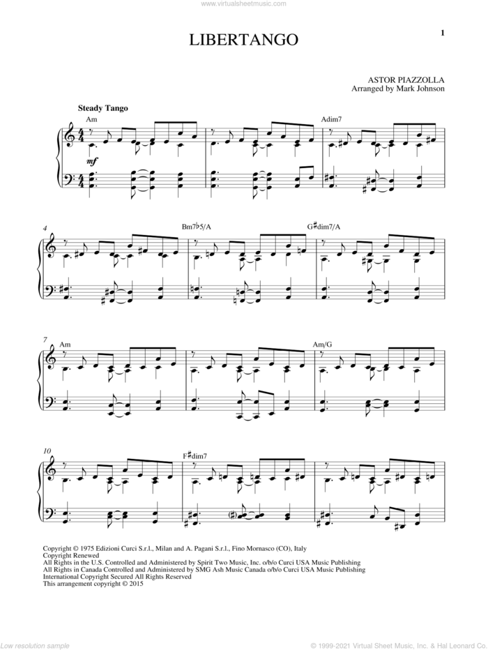 Libertango, (intermediate) sheet music for piano solo by Astor Piazzolla, classical score, intermediate skill level