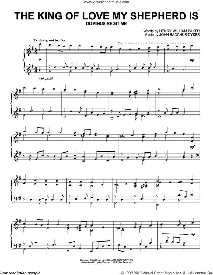 The King Of Love My Shepherd Is, (intermediate) sheet music for piano solo by Henry Williams Baker and Miscellaneous, intermediate skill level