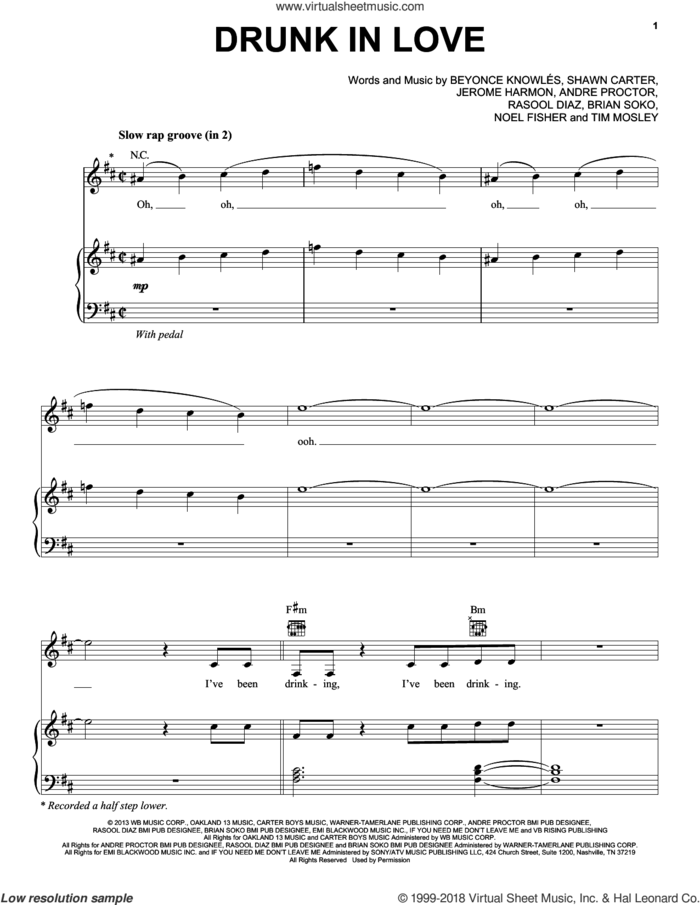 Drunk In Love sheet music for voice, piano or guitar by Beyonce, Andre Proctor, Beyonce Knowles, Brian Soko, Jerome Harmon, Noel Fisher, Rasool Diaz, Shawn Carter and Tim Mosley, intermediate skill level