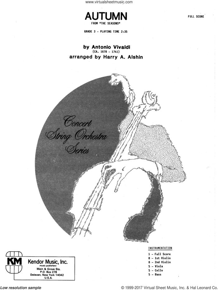 Autumn (COMPLETE) sheet music for orchestra by Antonio Vivaldi and Alshin, intermediate skill level
