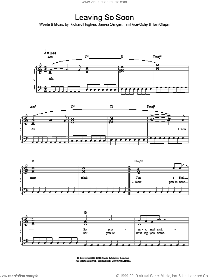 Leaving So Soon? sheet music for voice, piano or guitar by Tim Rice-Oxley, James Sanger, Richard Hughes and Tom Chaplin, intermediate skill level