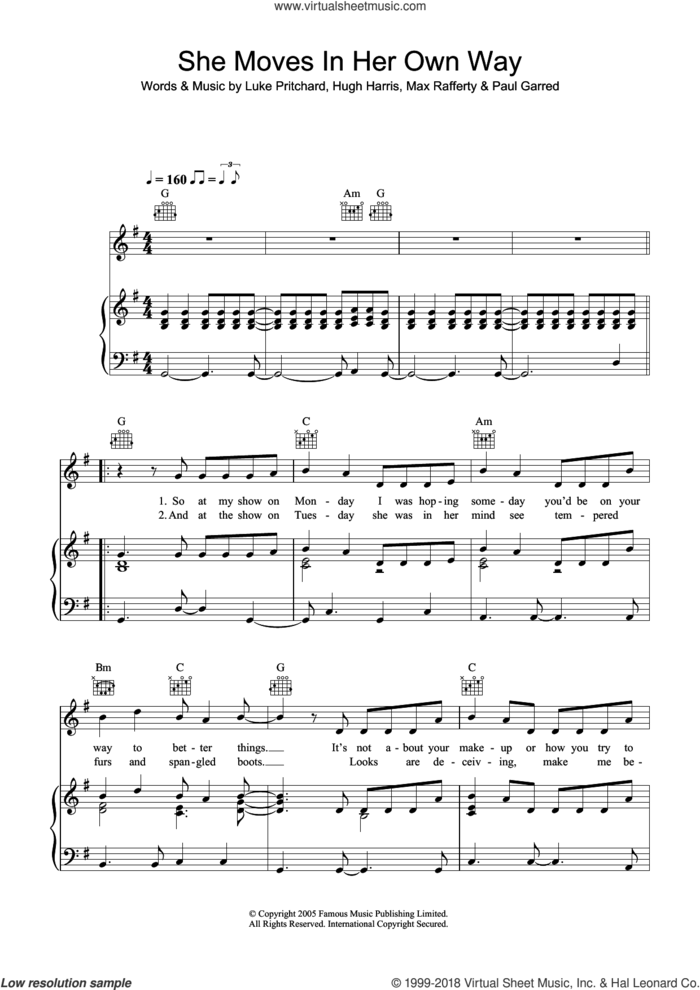 She Moves In Her Own Way sheet music for voice, piano or guitar by The Kooks, Hugh Harris, Luke Pritchard, Max Rafferty and Paul Garred, intermediate skill level