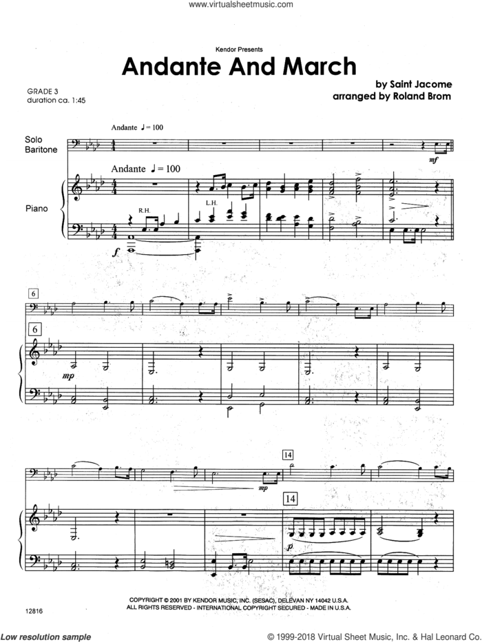 Andante And March (complete set of parts) sheet music for baritone t.c., b.c. and piano by Brom and Jacome, classical score, intermediate skill level