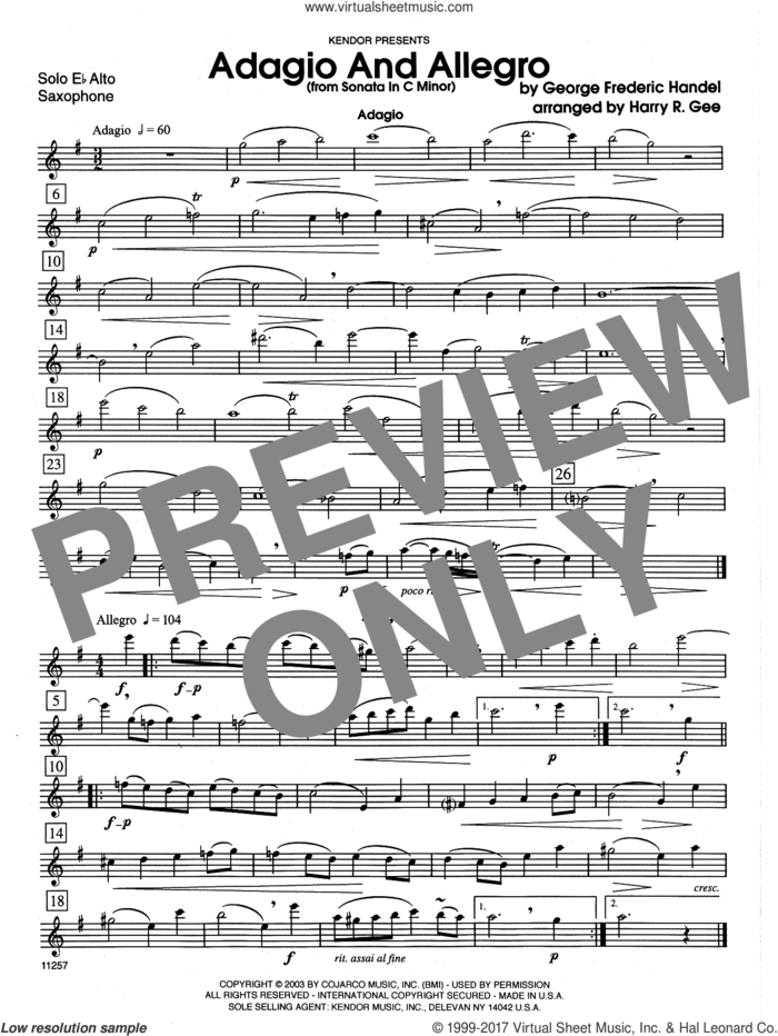 Adagio And Allegro (From Sonata In C Minor) (complete set of parts) sheet music for alto saxophone and piano by George Frideric Handel and Harry Gee, classical score, intermediate skill level