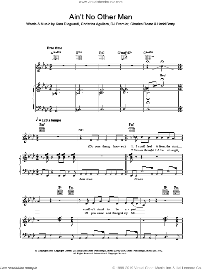 Ain't No Other Man sheet music for voice, piano or guitar by Christina Aguilera, Charles Roane, DJ Premier, Harold Beatty and Kara DioGuardi, intermediate skill level