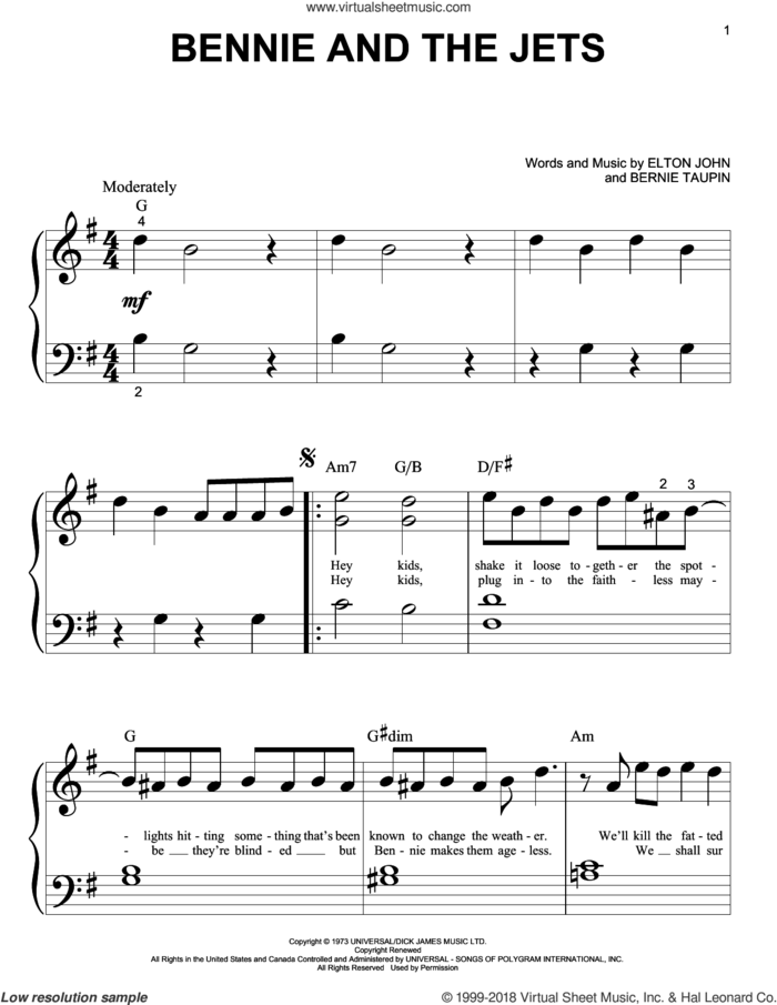 Bennie And The Jets sheet music for piano solo (big note book) by Elton John and Bernie Taupin, easy piano (big note book)
