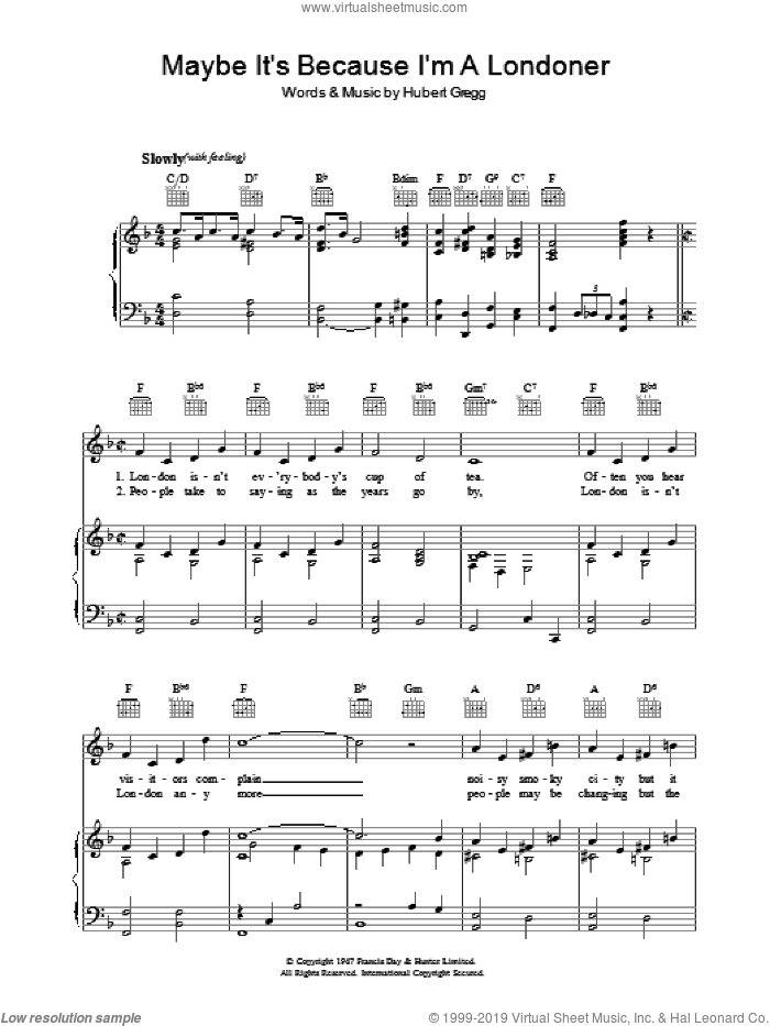 Maybe It's Because I'm A Londoner sheet music for voice, piano or guitar by Hubert Gregg, intermediate skill level