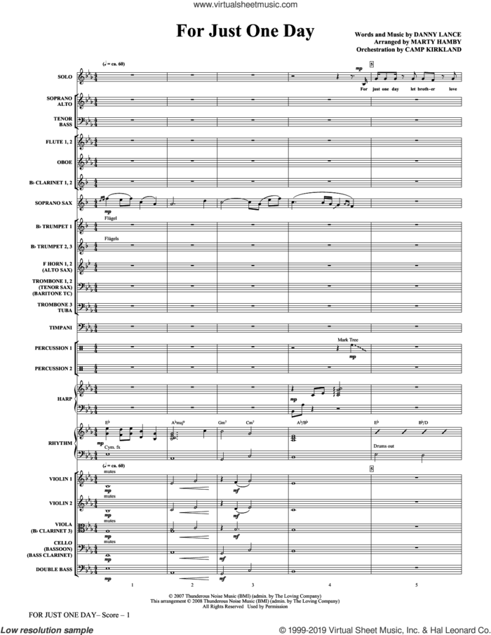For Just One Day (COMPLETE) sheet music for orchestra/band by Marty Hamby and Danny Lance, intermediate skill level