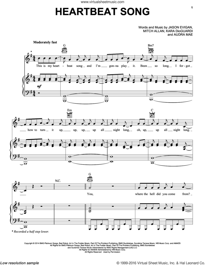 Heartbeat Song sheet music for voice, piano or guitar by Kelly Clarkson, Audra Mae, Jason Evigan, Kara DioGuardi and Mitch Allan, intermediate skill level