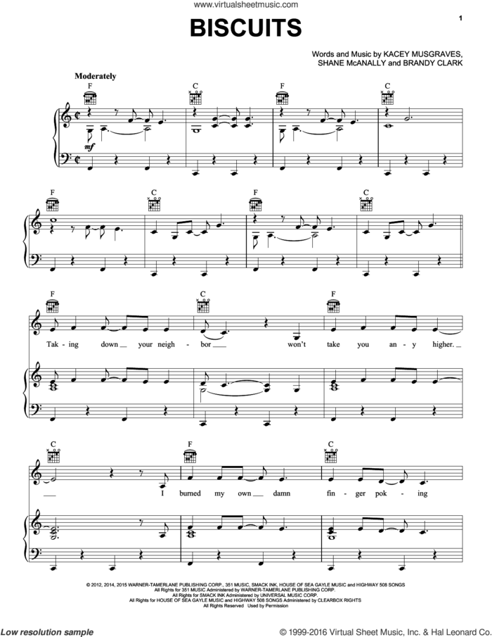 Biscuits sheet music for voice, piano or guitar by Kacey Musgraves, Brandy Clark and Shane McAnally, intermediate skill level