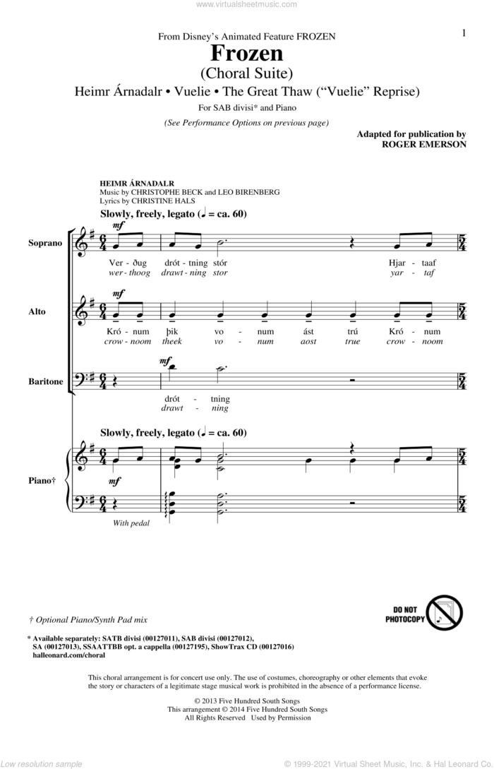 Frozen (Choral Suite) sheet music for choir (SAB: soprano, alto, bass) by Roger Emerson, Christine Hals, Christophe Beck, Frode Fjellheim and Leo Birenberg, intermediate skill level