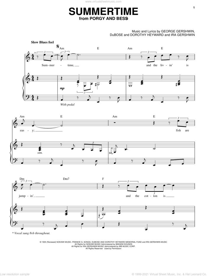 Summertime sheet music for voice and piano by George Gershwin, Dorothy Heyward, DuBose Heyward and Ira Gershwin, intermediate skill level