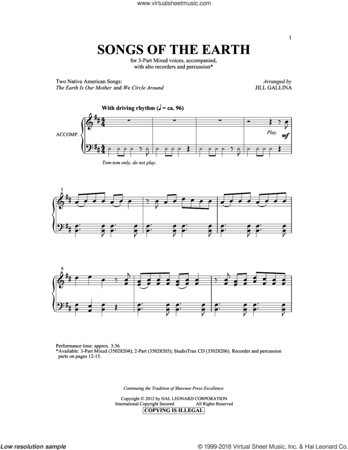 The Earth Is Our Mother sheet music for choir (3-Part Mixed) by Jill Gallina and Hopi Indian Chant, intermediate skill level