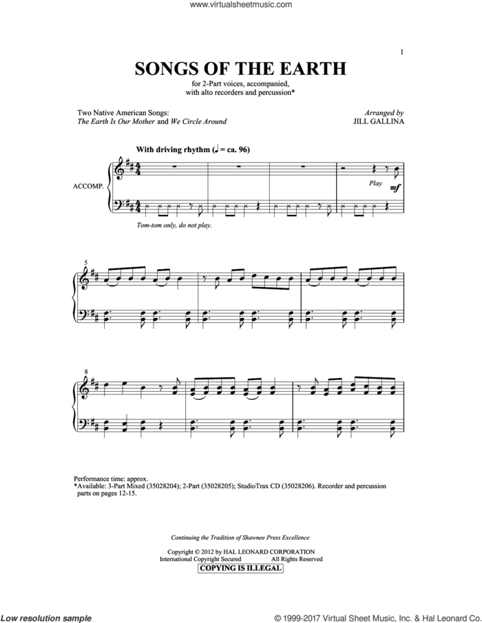 The Earth Is Our Mother sheet music for choir (2-Part) by Jill Gallina and Hopi Indian Chant, intermediate duet