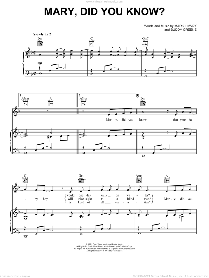 Mary, Did You Know? sheet music for voice, piano or guitar by Kathy Mattea, Buddy Greene and Mark Lowry, intermediate skill level