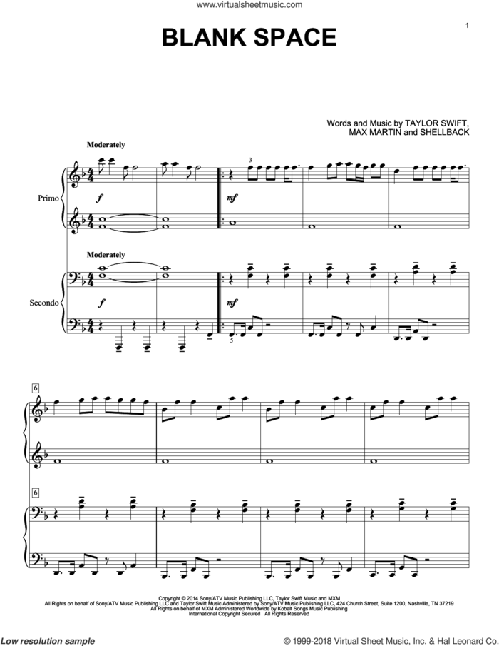 Blank Space sheet music for piano four hands by Taylor Swift, Johan Schuster, Max Martin and Shellback, intermediate skill level