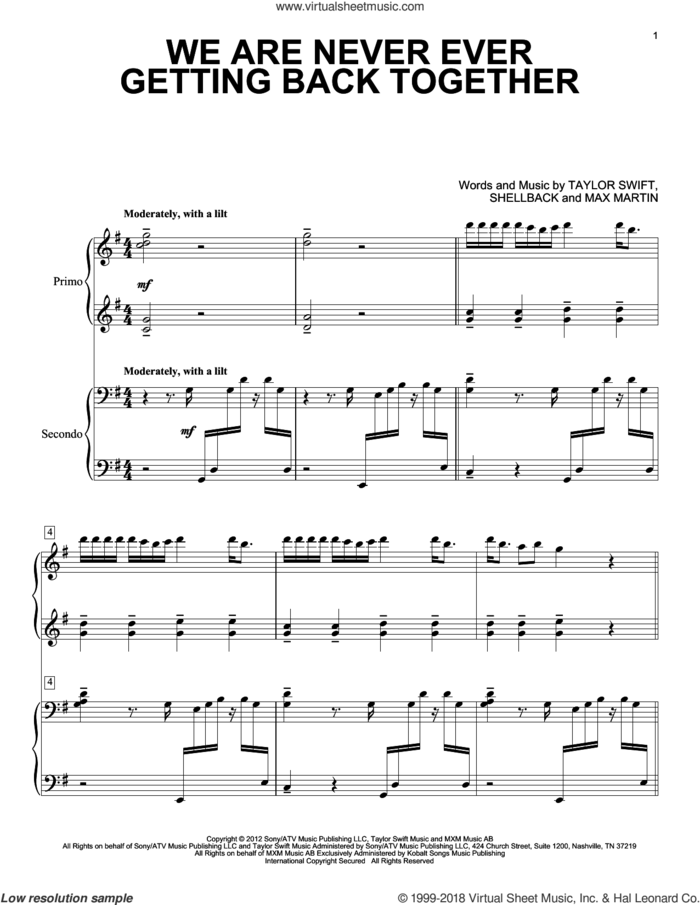 We Are Never Ever Getting Back Together sheet music for piano four hands by Taylor Swift, Max Martin and Shellback, intermediate skill level