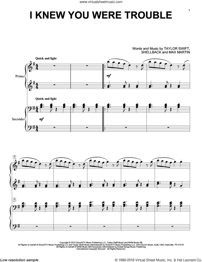 I Knew You Were Trouble sheet music for piano four hands by Taylor Swift, Max Martin and Shellback, intermediate skill level
