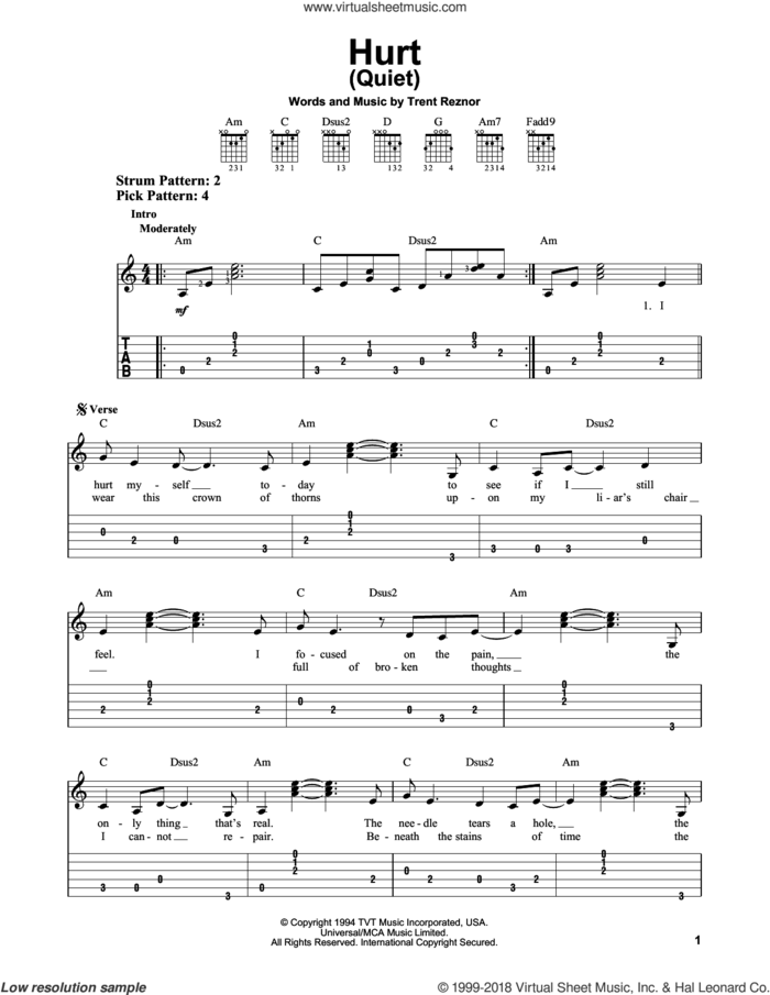 Hurt (Quiet) sheet music for guitar solo (easy tablature) by Johnny Cash, Nine Inch Nails and Trent Reznor, easy guitar (easy tablature)