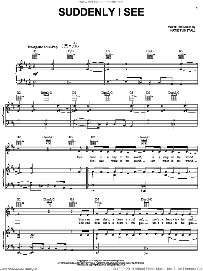 Suddenly I See sheet music for voice, piano or guitar by KT Tunstall, intermediate skill level