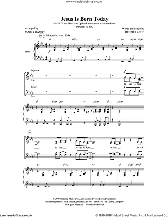 Jesus Is Born Today sheet music for choir (SATB: soprano, alto, tenor, bass) by Marty Hamby and Debbie Lance, intermediate skill level