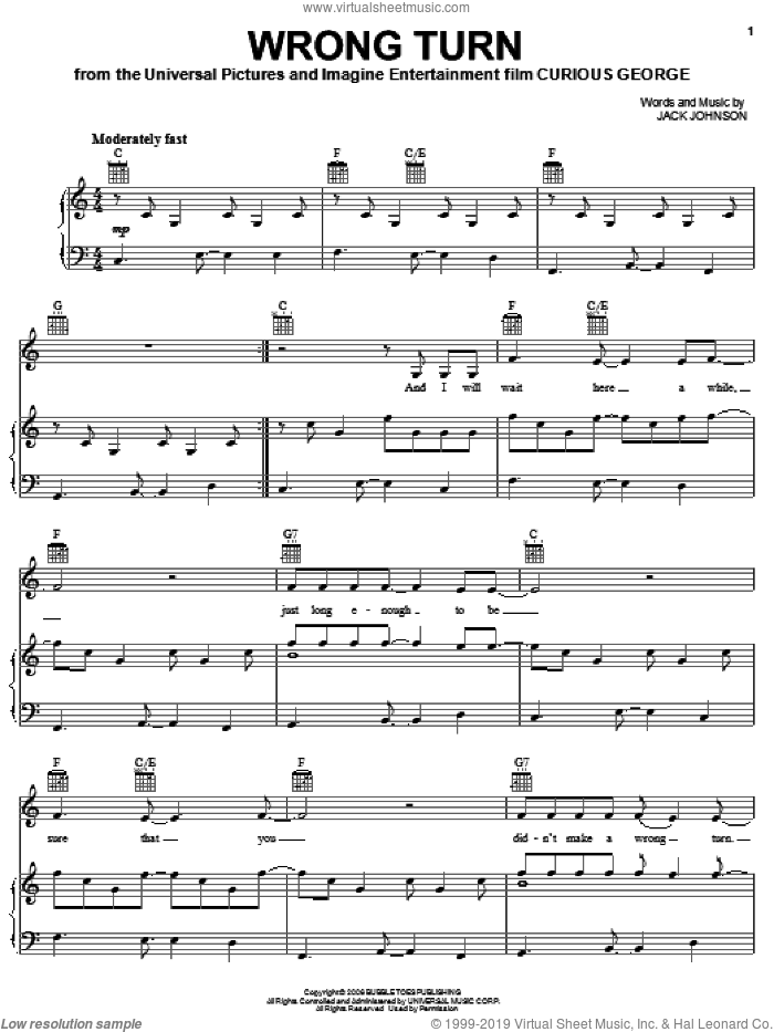 Wrong Turn sheet music for voice, piano or guitar by Jack Johnson and Curious George (Movie), intermediate skill level