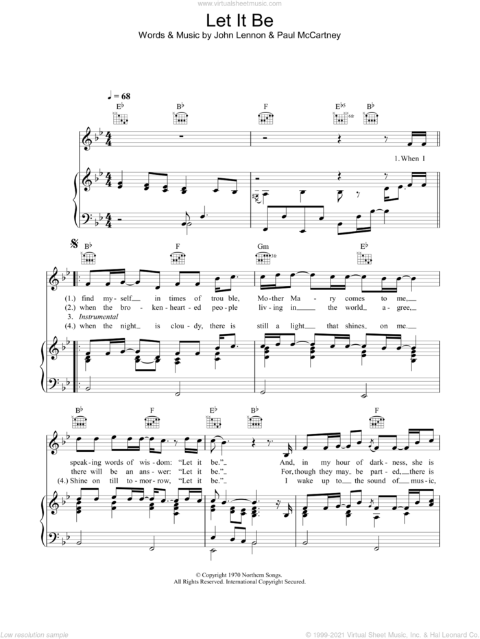Let It Be sheet music for voice, piano or guitar by Journey South, The Beatles, John Lennon and Paul McCartney, intermediate skill level