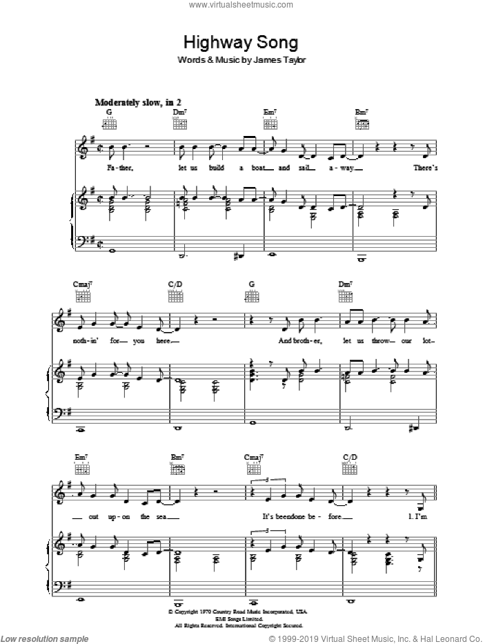 Highway Song sheet music for voice, piano or guitar by James Taylor, intermediate skill level