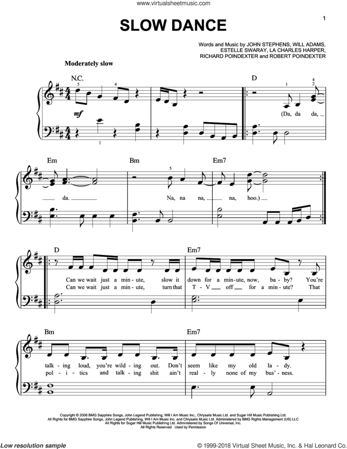 Slow Dance sheet music for piano solo by John Legend, Estelle Swaray, John Stephens, La Charles Harper, Richard Poindexter, Robert Poindexter and Will Adams, easy skill level